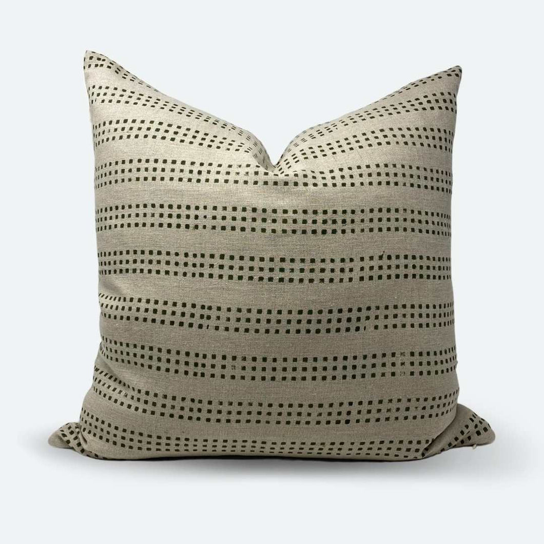 20x20 Pillow Cover - Green Dot Block Print No.2