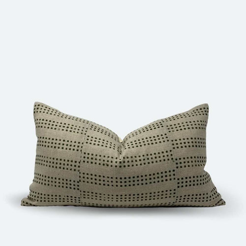 Small Lumbar Pillow Cover - Green Dot Block Print No.2