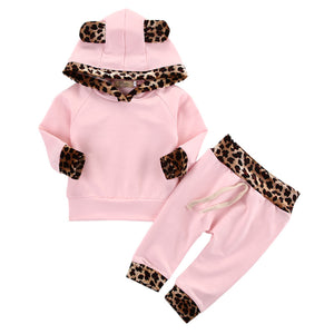 Leopard Side Pink Hoodie Top Pants Set