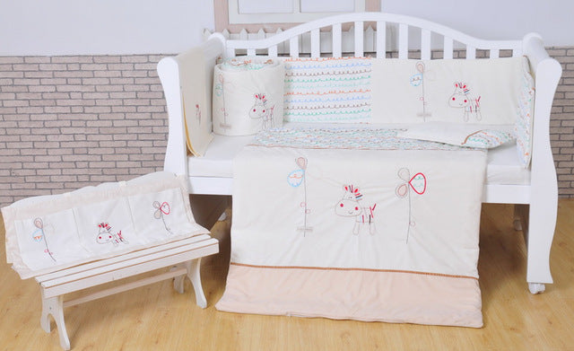 Embroidery pony bedding set