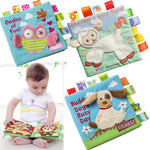 Monkey/Owl/Dog Fabric Book Rattle