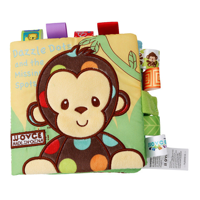 Monkey/Owl/Dog  Fabric Book Rattles