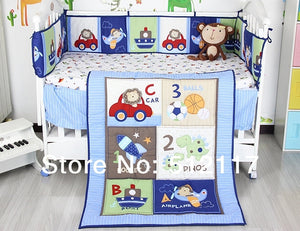 Blue Cars Airplane Bedding Set 3 items