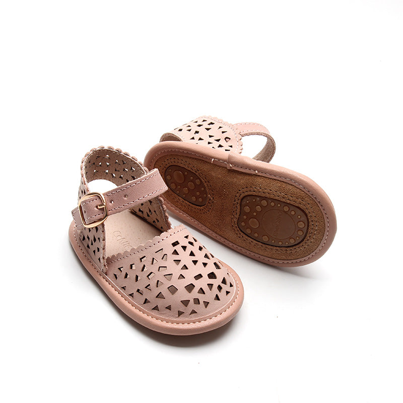 Leather Petal T-Bar | Color 'Cotton White' | Soft Sole