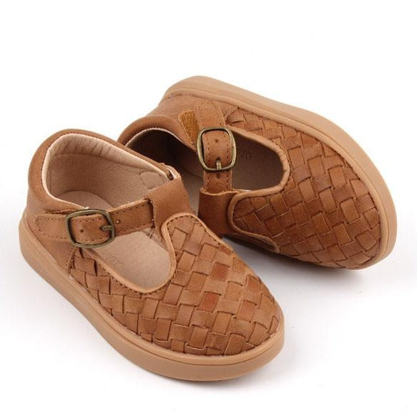 Leather Woven T-Bar | Color 'Walnut' | Hard Sole