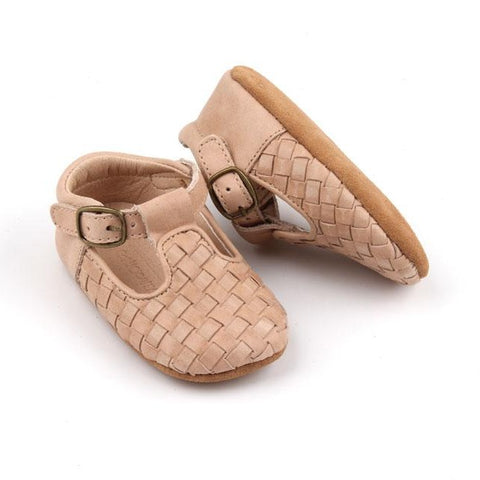 Leather Woven T-Bar | Color 'Stone' | Soft Sole