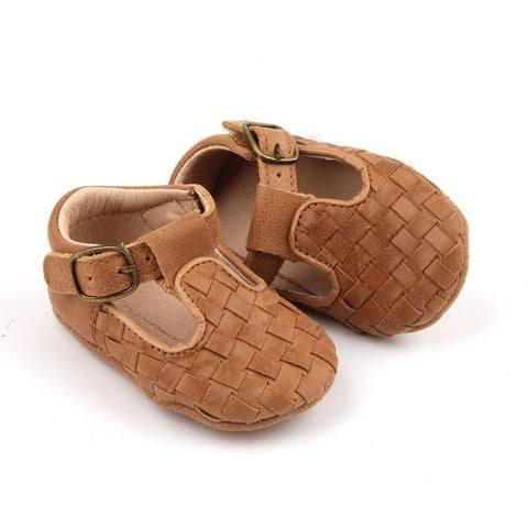 Leather Woven T-Bar | Color 'Walnut' | Soft Sole