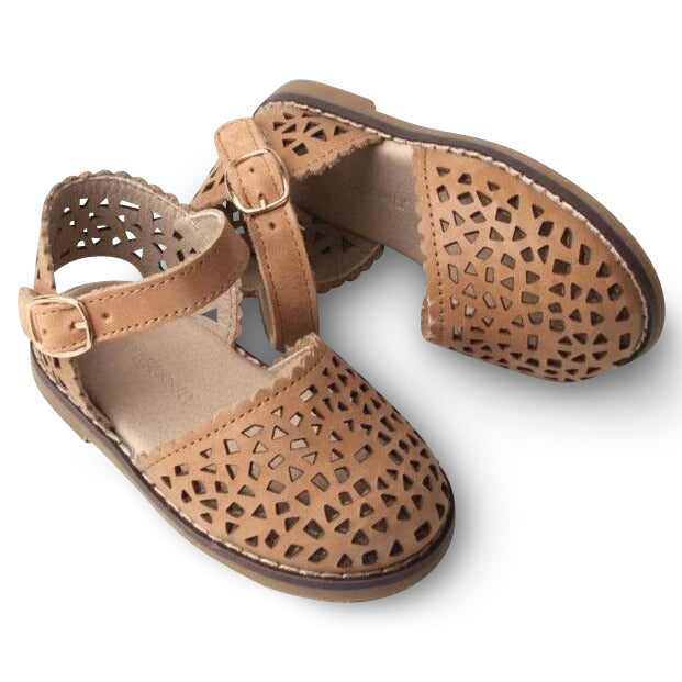 Leather Pocket Sandal | Color 'Sand' | Hard Sole