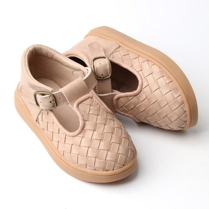 Leather Woven T-Bar | Color 'Stone' | Hard Sole
