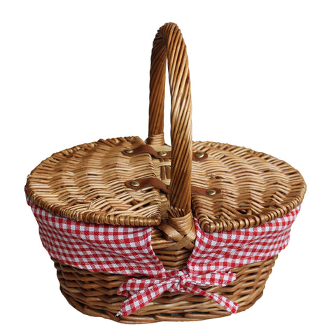 Child's light steamed finish oval picnic basket with red and white check lining