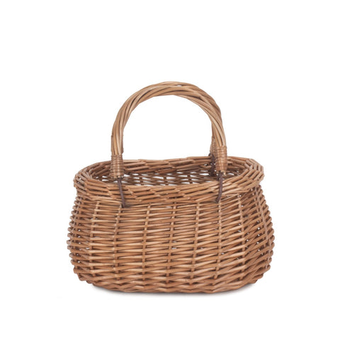 Child's light steamed swing handled coracle shopping basket