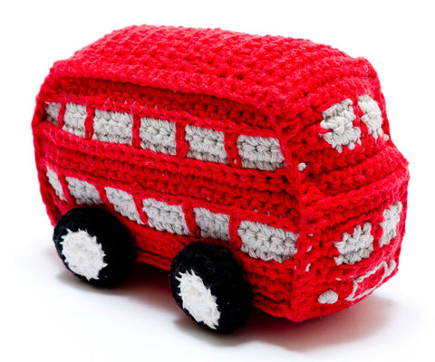 Double decker bus crochet baby rattle