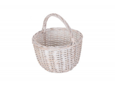 Child's round white wash basket