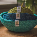 Jute mini bowl set - ocean