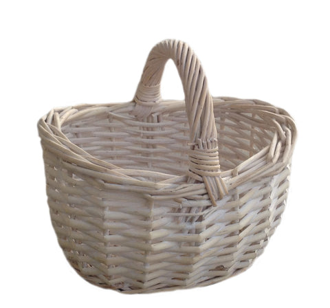 Child's small white shopping basket