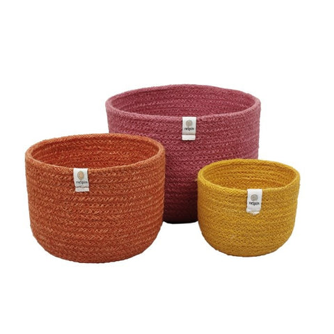 Tall jute basket set - fire