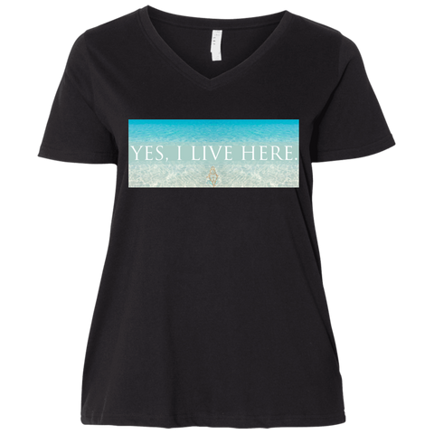 "Water Goddess ""Yes, I Live Here."" V-Neck Shirt"