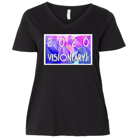 """2020 Vision(ary)"" Water Goddess Ladies' Curvy V-Neck T-Shirt"