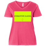 """Stereotype Slayer"" Water Goddess Ladies' Curvy V-Neck T-Shirt"