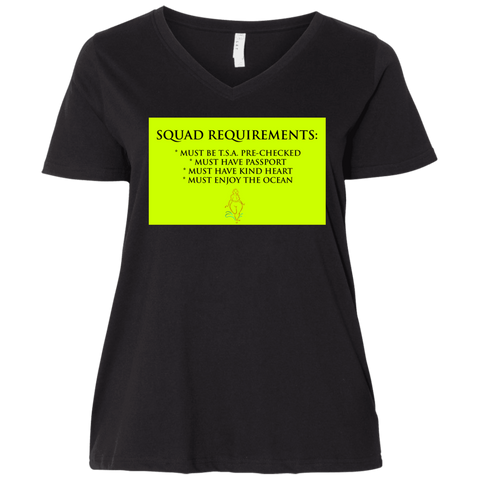 """Squad Requirements"" Water Goddess Ladies' Curvy V-Neck T-Shirt"