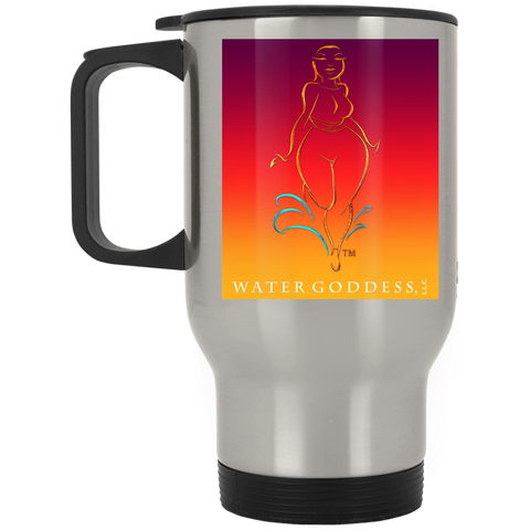 "Water Goddess ""Sunset Beach"" Silver Stainless Travel Mug"