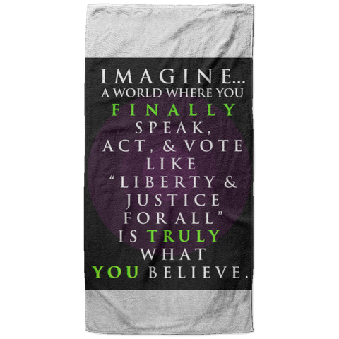 """Imagine A World..."" Water Goddess Plush Beach Towel 37x74"