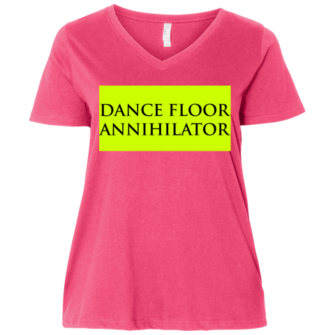 'Dance Floor Annihilator' Ladies' Curvy V-Neck T-Shirt