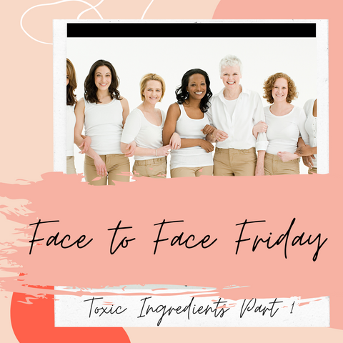 Women of all sizes, shapes and colors wearing white tank tops and khaki pants for My Alchemy Skin Care Face to Face Friday.