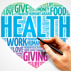 Words about health shaped into a heart