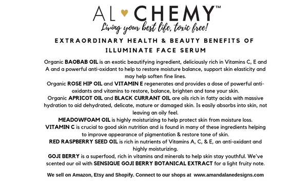 Card listing healthy and beauty benefits of Illuminate Face serum.