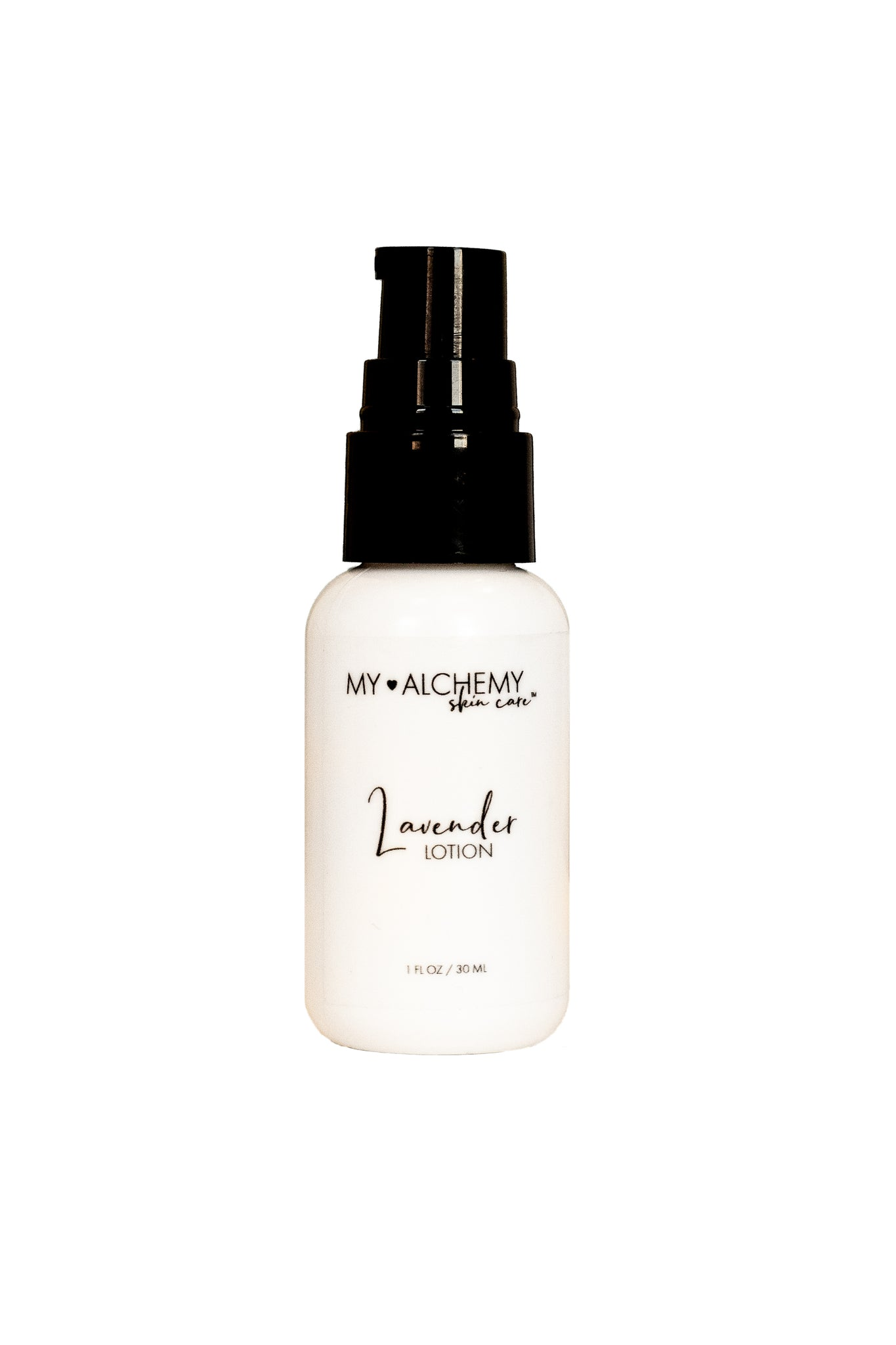 Mini Lavender Lotion. White Bottle with Black pump top. Label in Black.