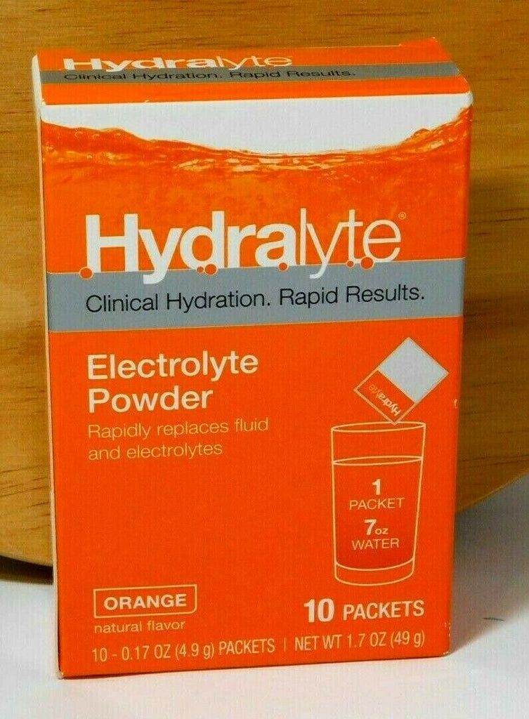 Hydralyte Electrolyte Hydration Powder Packets Formula ORANGE 10 Count 12/2021