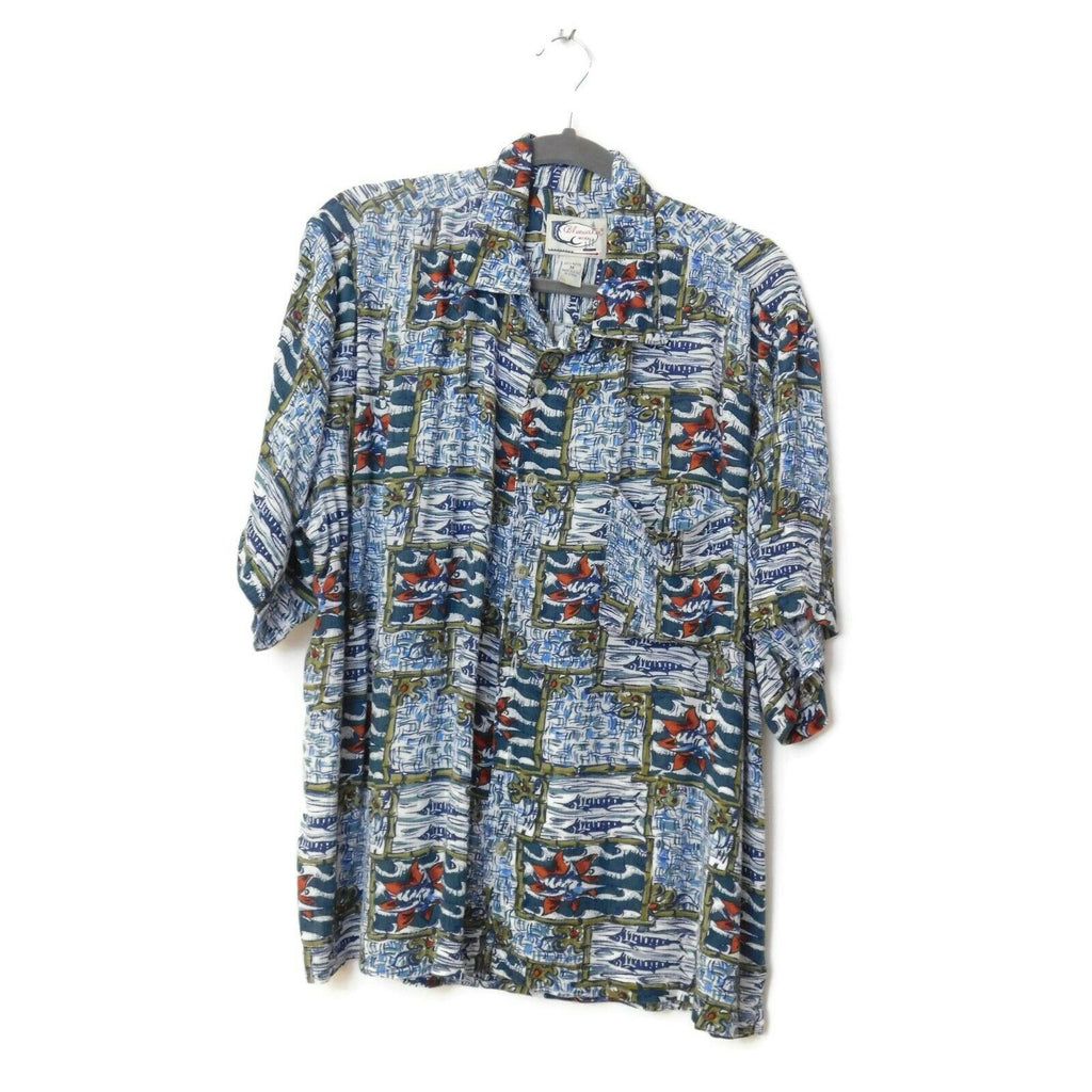 Bluewater Wear Men's Fishing Theme Button Up Front Short Sleeve Shirt M