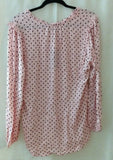 Tommy Hilfiger Women's Ruffle Top Long Sleeve V-Neck w/ Tie Dot Blouse Med Pink