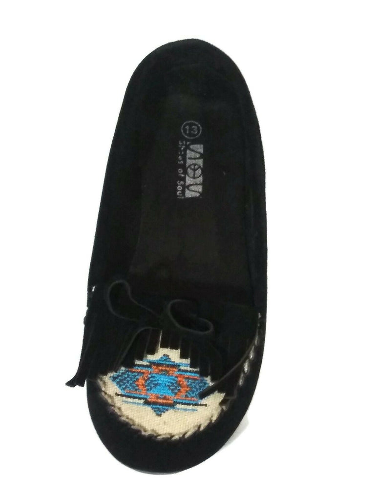 Shoes Of Soul Girls Embroidered Moccasin Flats Black Size US- 13 #G3228-5