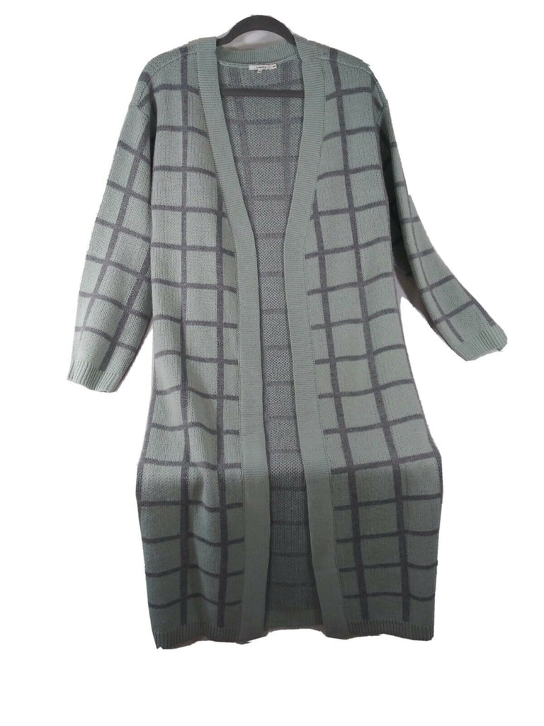 Tularosa Women's Marina Plaid Print Knit Duster Extra Small Olive Plaid
