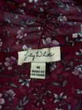 Lily White Women's Floral Sheer Front Tie Short Sleeve Blouse Medium Burgundy