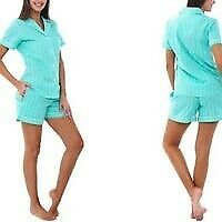 Alexander Del Rossa Women's Lightweight Button Down Pajama Set Shorts Set Small