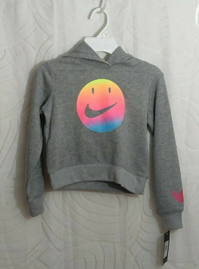 Nike Girls Smile Face Hooded Sweater Gray Heather Size 6