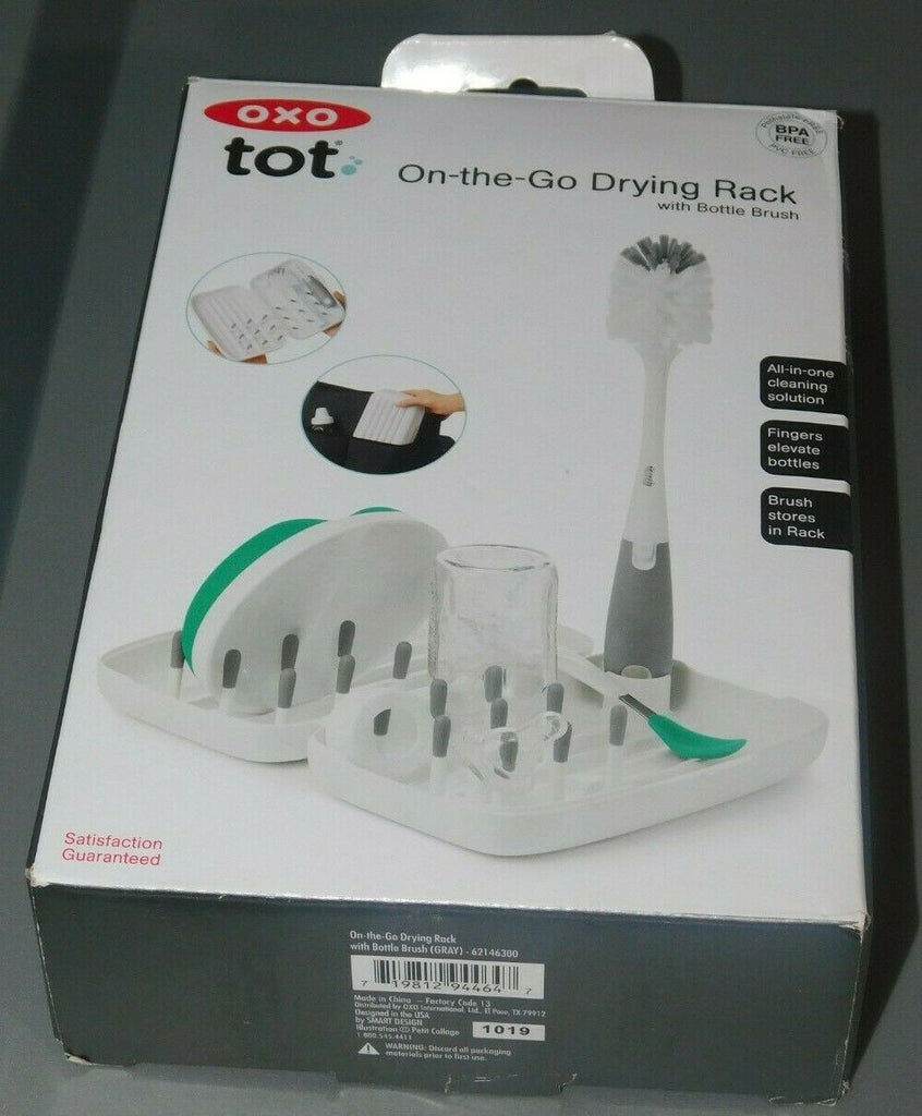 OXO Tot On-The-Go Drying Rack w/ Bottle Brush 2 Piece Set Gray