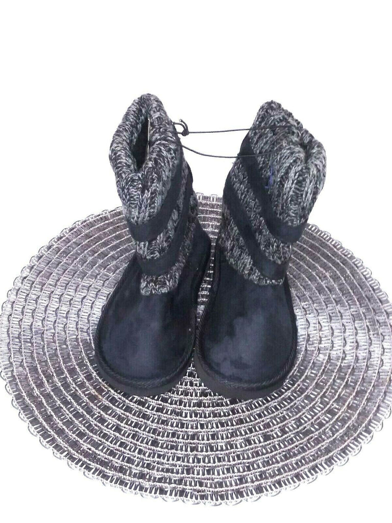 Shoes Of Soul Girls' Side Buckle Sweater Bootie Size 11 Black Gray - STEPSHEY