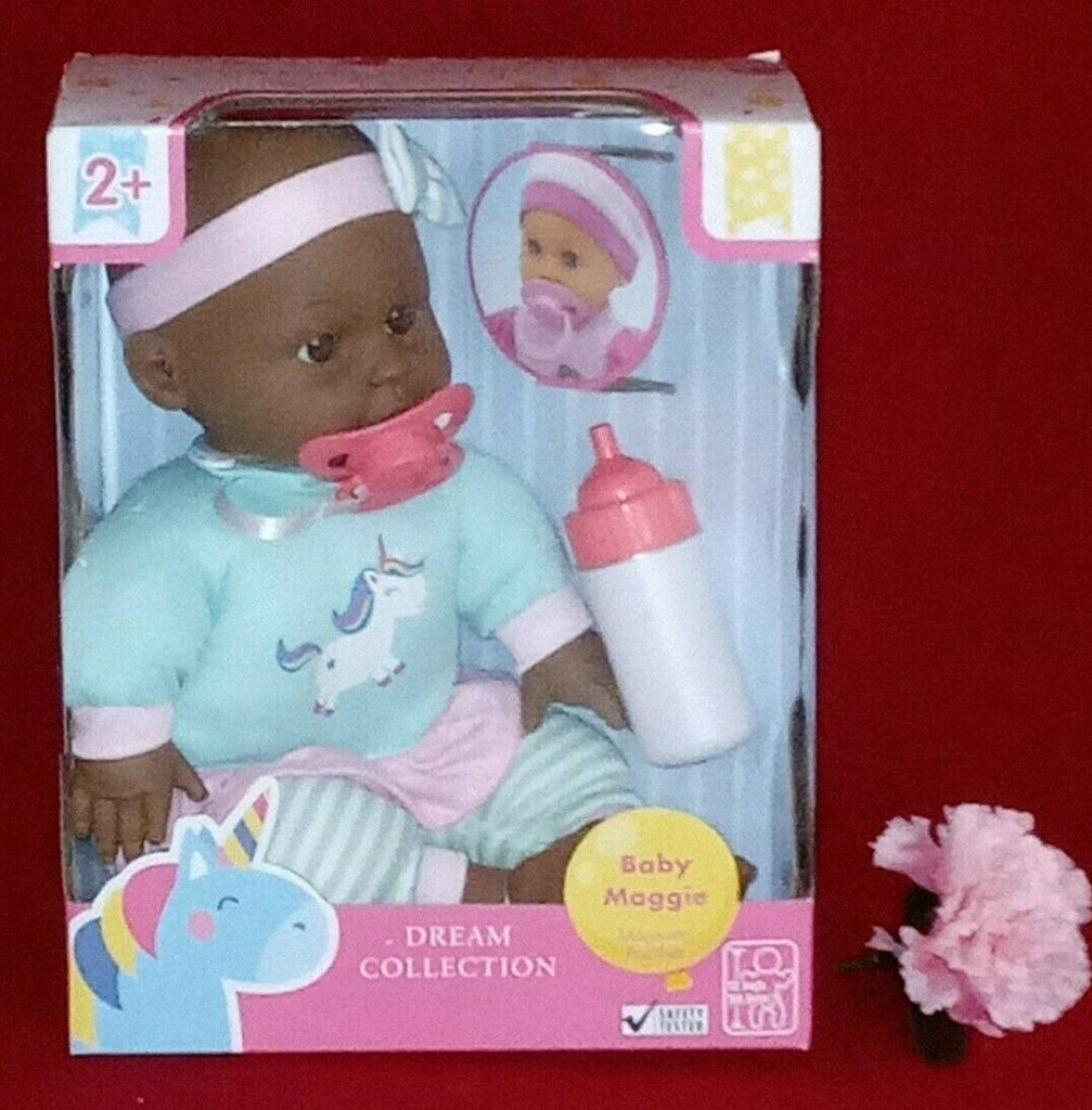 "Dream Collection 12"" Baby Maggie Pacifier & Bottle Ages 2+ Green Outfit"