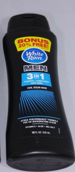 White Rain Men's 3 in 1 Shampoo+Conditioner+Body Wash Cool Ocean Wave 18 FL OZ - STEPSHEY