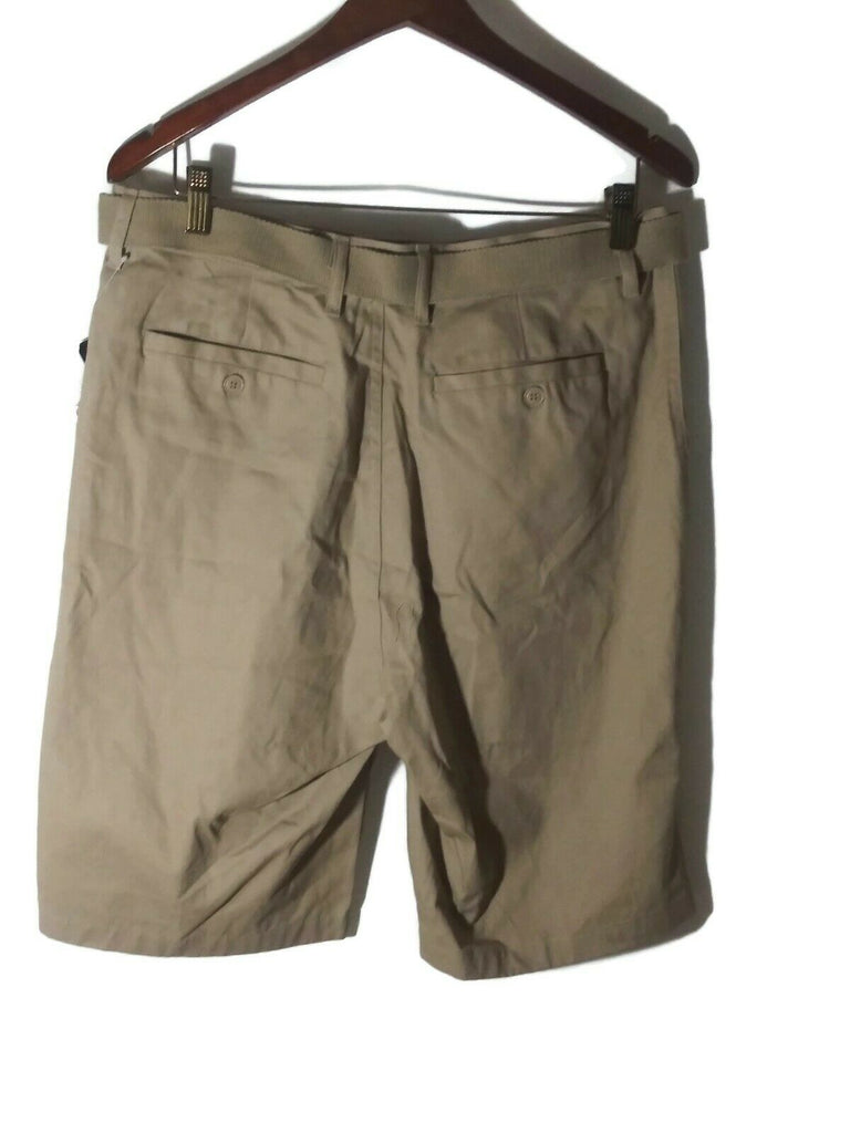 Wicked Stitch Men's Flat Front Belted Cargo Shorts Khaki