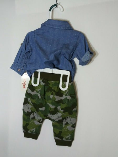 Cat & Jack Baby Boys' 2 Piece Chambray Top & Camo Elastic Waist Pants 0-3 Mths - STEPSHEY
