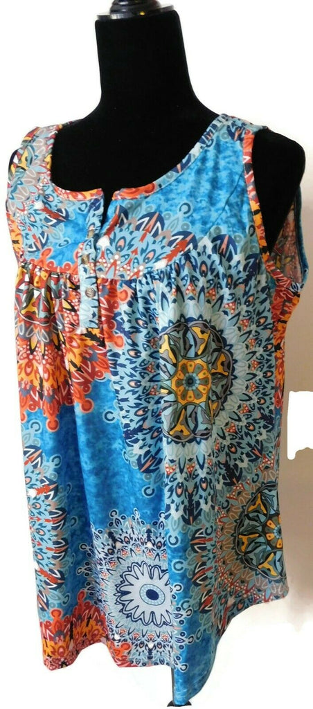 Leo Rosi Women's Floral Tank Top Orange Large(12-14) Abstract Blouse Buttons