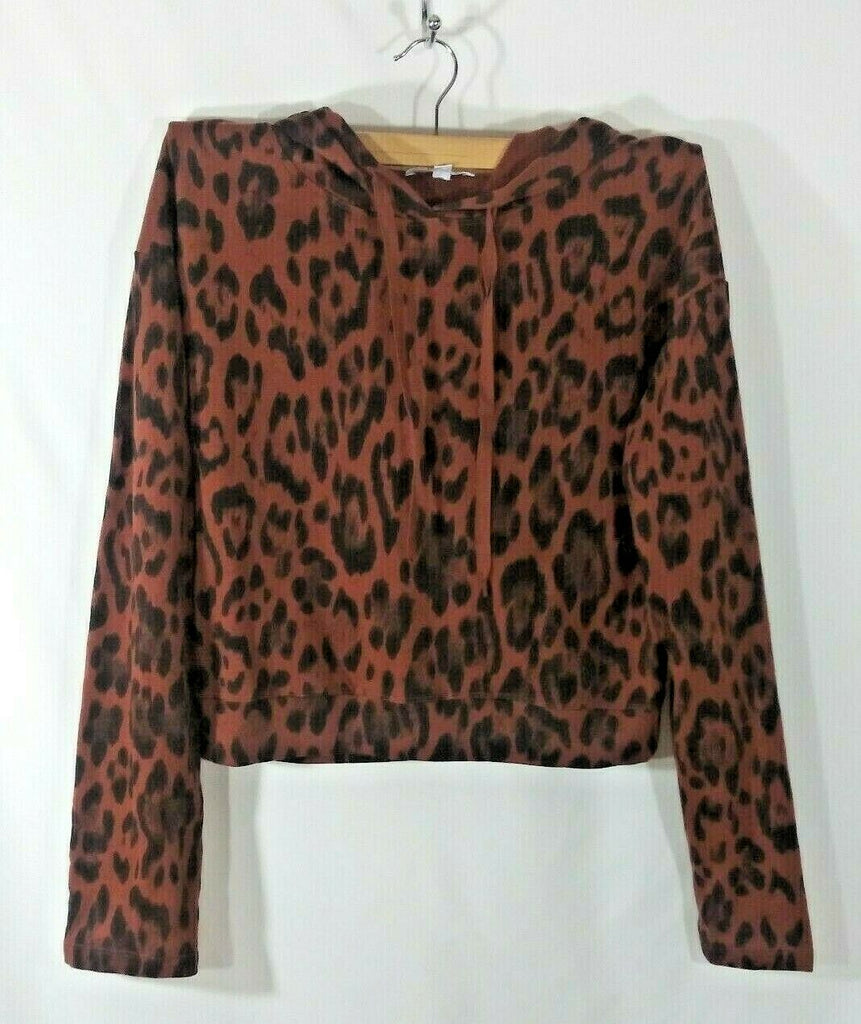 Socialite Women's Leopard Print Hoodie with Drawstring Small Brown and Black