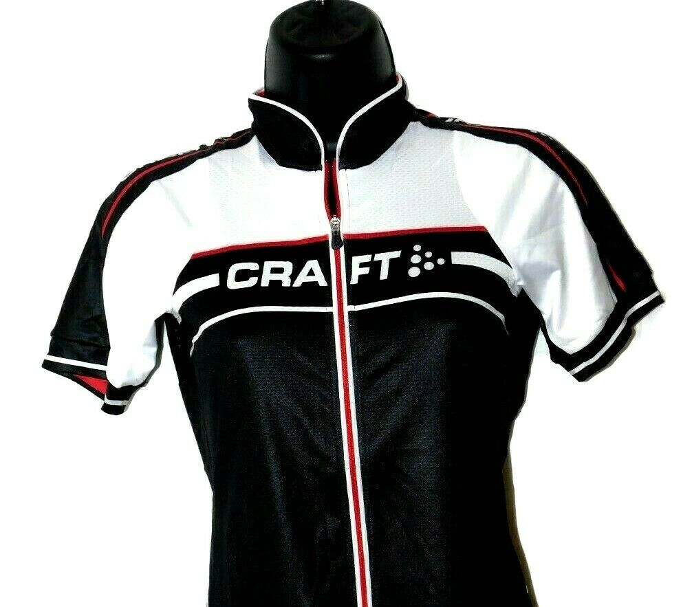 Craft Grand Tour Jersey Full Zipper Front Shirt Black/White/Bright Red Small Top