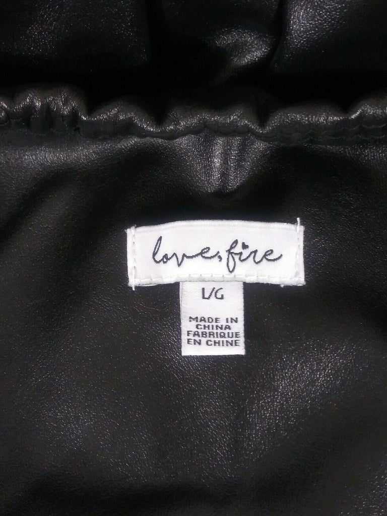 Love, Fire Women Faux Leather Stretch Leggings Skinny Large Black