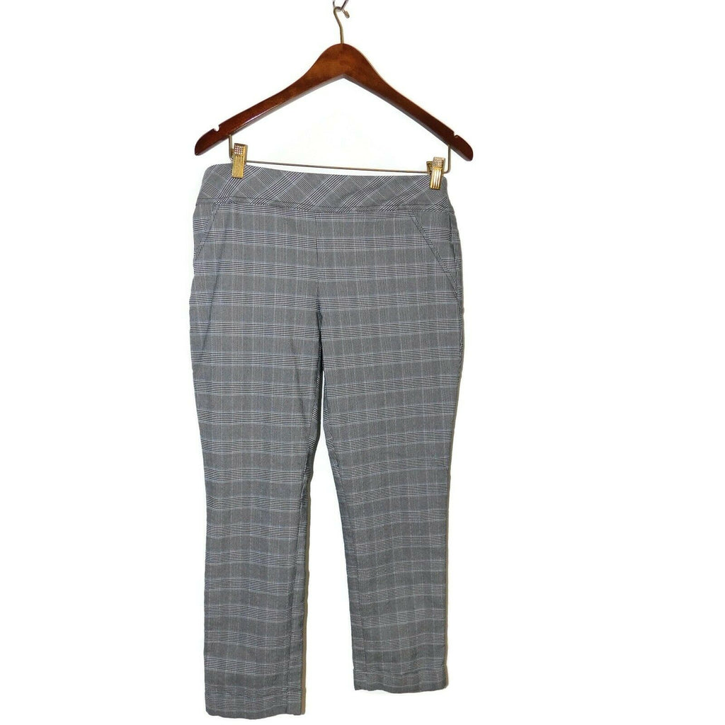 Joe Benbasset Women's Plaid Flat Front Career Pants XL Gray/Black/White/Blue